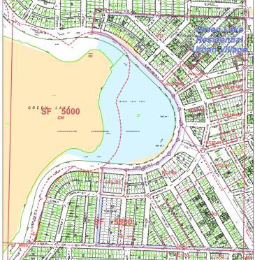 Map of the Green Lake Residential Urban Village.