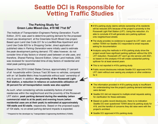 Seattle DCI is Responsible for Vetting Traffic Studies